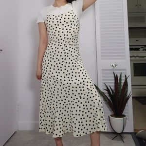 Dot printed slip midi long dress